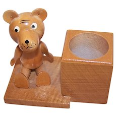 Vintage GDR Handmade Wood Teddy Bear Toothpick Holder