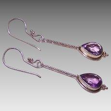 Vintage STERLING SILVER & Amethyst Drop Earrings - Pierced Earrings!