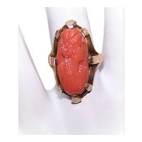 Antique Edwardian 10K Gold Carved Coral Cameo Ring | Lady Profile Right Design