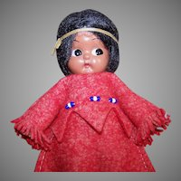 Vintage HARD PLASTIC Doll - Carlson, Indian Maiden, Rattle, Original Tag