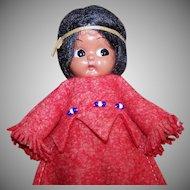Vintage HARD PLASTIC Doll - Carlson, Indian Maiden, Rattle, Original Tag