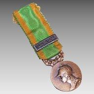 Vintage FRENCH Medal - Bronze Color, Original Ribbon, Warrior Goddess, GALLIA