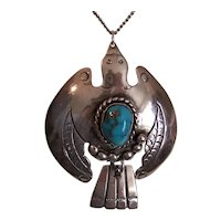 Native American Navajo Sterling Silver Turquoise Thunderbird Pendant