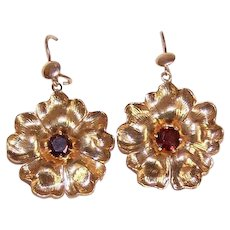 OLD STORE STOCK! Vintage 14K Gold & 1 CT TW Garnet Floral Drop Earrings!