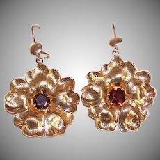OLD STORE STOCK! Vintage 14K Gold & 1 CT TW Garnet Floral Drop Earrings!