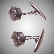 Vintage Silver Tone Metal & White Rhinestone Cufflinks/Cuff Links!