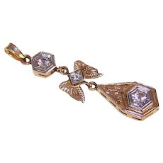 OLD STORE STOCK! Art Deco 14K Gold & .40CT TW Diamond Lavaliere Pendant!
