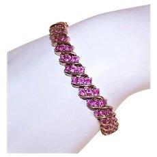 Ross SImons Sterling Silver Vermeil Pink Topaz Tennis Bracelet