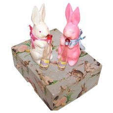 RARE 1940s Easter Morning Perfume Boxed Set with Chalkware Easter Bunnies