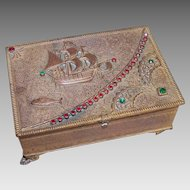 ART DECO Bronze Metal & Rhinestone Jewelry Box - Treasure Box!