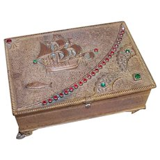 Art Deco Bronze Metal & Rhinestone Jewelry Box - Pirate Treasure/Spanish Treasure Themed Lid