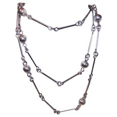 "Vintage Italian STERLING SILVER ""Ball & Chain"" Link Necklace!"