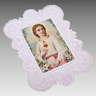 ANTIQUE VICTORIAN Religious Devotional - Paper Lace, Chromolithograph, Sacred Heart of Jesus
