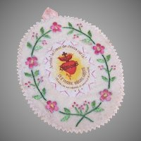 Vintage RELIGIOUS Devotional - Hand Sewn, Embroidered, SACRED HEART, Wall Decor