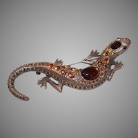 Vintage COSTUME Pin - Gold Tone Metal, Brown Rhinestone, Lizard, Gekko