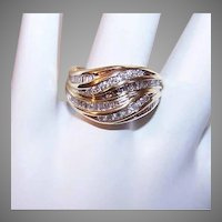 Vintage 14K Gold Diamond Cocktail Ring