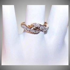 Vintage 14K Gold & .10CT TW Diamond Cross-Over Ring!