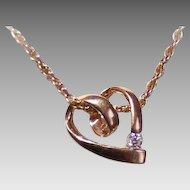 Vintage 14K Gold & .10CT Diamond Solitaire Heart Pendant!