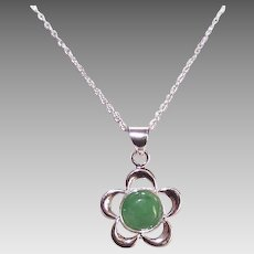Vintage STERLING SILVER & Jade Pendant on Chain Necklace!