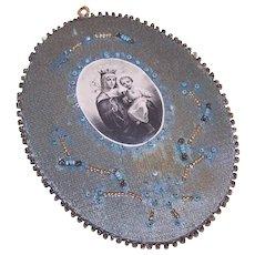 C.1920 FRENCH Agnus Dei Hand Sewn/Hand Beaded Religious Relic!