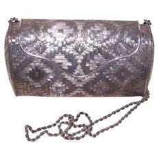 Mexican Handmade Sterling Silver Basket Weave Shoulder Purse