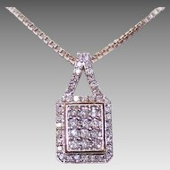 Vintage 10K Gold & .60CT TW Diamond Pendant with Sterling Silver Box Chain!