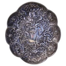 Art Nouveau Sterling Silver Pin or Card Tray with Repousse Cherubs and Florals