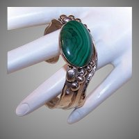 Vintage STERLING SILVER Bracelet - Native American, Malachite, Small Size