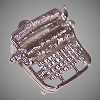 Vintage STERLING SILVER Charm - Manual Typewriter!