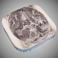 DTD 1908 Pale Blue FRENCH Baptism Candy Box/Gift Box - Lovely Angel Graphics!