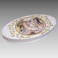 C.1920 FRENCH Baptism Candy Box/Gift Box - Gold Embossing with Family Graphic!