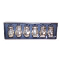 Boxed Set Sterling Silver Plastic Lined Salt Pepper Shakers