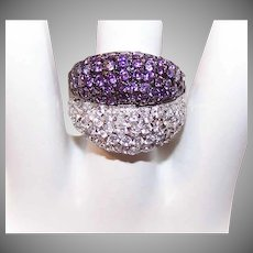 Stunning STERLING SILVER and Purple/White Cubic Zirconia Fashion Ring!