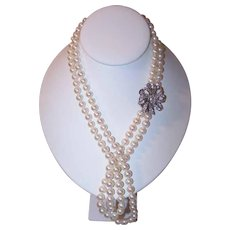 ESTATE 7.8MM Cultured Pearl Necklace with 14K Gold & 3.50CT TW Diamond Catch!
