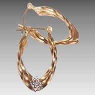 Vintage 14K Gold & Diamond Hoop Earrings/Hoops!