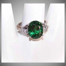 Vintage STERLING SILVER & Rhinestone Fashion Ring - White & Emerald Green Cubic Zirconia/CZ!