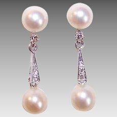 Vintage 14K Gold, Diamond & Cultured Pearl Drop Earrings!