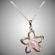 14K Gold Cultured Pearl Floral Pendant