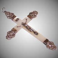 C.1900 FRENCH 800/900 Silver & Mother of Pearl Crucifix/Cross Pendant!