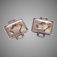 Vintage STERLING SILVER Bracelet Links - Airedale Terriers, Painted, Image, Pair