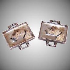 Vintage STERLING SILVER Bracelet Links - Airedale Terriers, Painted, Image, Pair