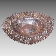 ART DECO Sterling Silver Bowl - Gorham, Floral, Bread Basket, Pierce Work, 19.8 Ounces