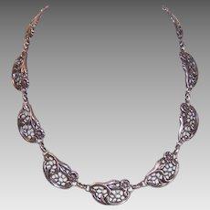 Vintage STERLING SILVER Necklace - Danecraft, Floral, Cutwork, Retro Modern, Modernist