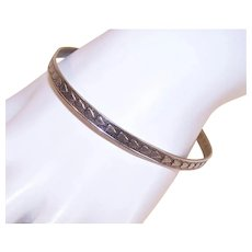 Beau Sterling Silver Hearts Bangle Bracelet