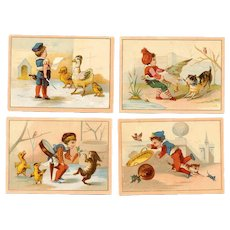 4 VICTORIAN Trade Cards - Children Playing with Animals!