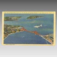 Unused C.1950 TWA/Trans World Airlines Post Card - Sky Sleeper Over San Francisco Bay!
