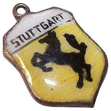 Vintage STERLING SILVER & Enamel Travel Shield Charm - Stuttgart!