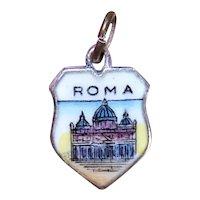 European Sterling Silver Enamel Travel Shield Charm - Rome Italy