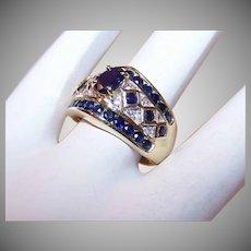 ESTATE 14K Gold, 1.45CT TW Diamond & Blue Sapphire Cocktail Ring!