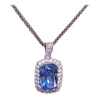 Sterling Silver Blue Clear Crystal CZ Pendant with Chain